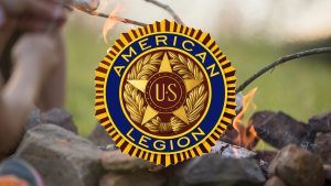 American Legion Logo over campfire
