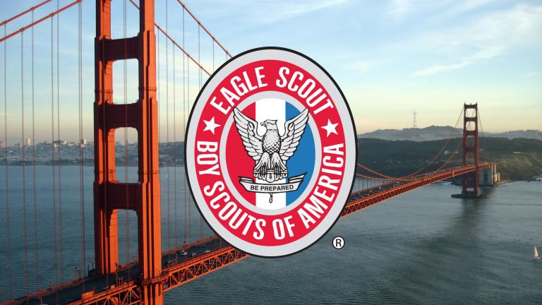 Eagle Scout Badge over Golden Gate Bridge