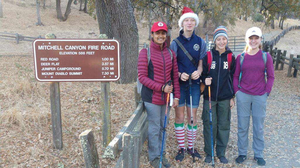 Taryn and fellow scouts on hike.